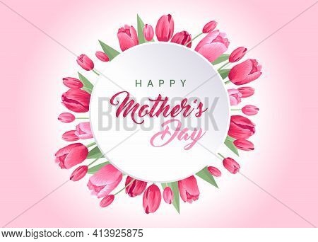 Happy Mothers Day Card. Vector Greeting Banner For Social Media, Online Stores, Poster. Text Of Happ