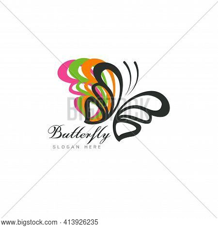 Stylized Image Of Butterfly Logo Template On White Background , Butterfly Silhouette Logo Isolate Ve