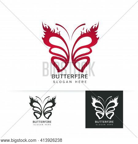 Stylized Image Of Butterfly Logo Template On White Background , Butterfly With Fire Concept Silhouet