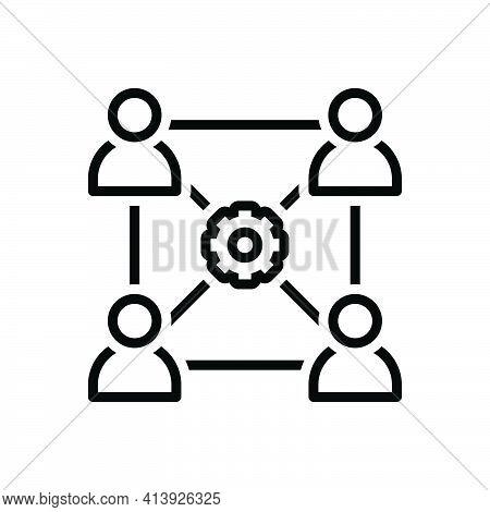 Black Line Icon For Sociology Blog Business Community Managementnetwork Team