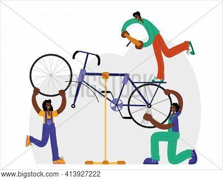 Bicycle Repair. Black Mechanics Repair A Bike Through Online Repair. Web Graphics, Banners, Advertis