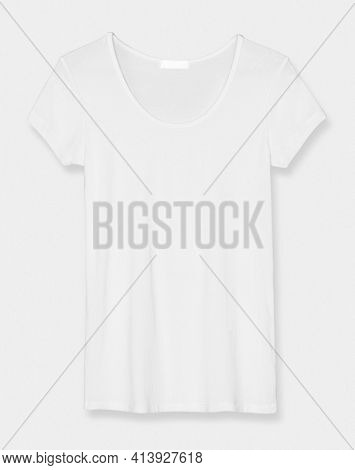 Basic white scoop neck tee women's apparel front view