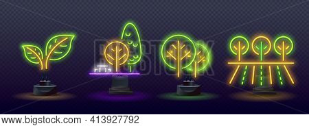 Neon Sprout, Grove And Fields, Farmland. Forest Neon Sign. Concert Signboard For International Day O