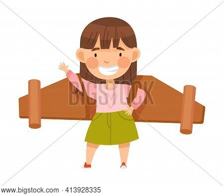 Excited Girl With Improvised Fake Wings Pretending Flying Standing And Waving Hand Vector Illustrati