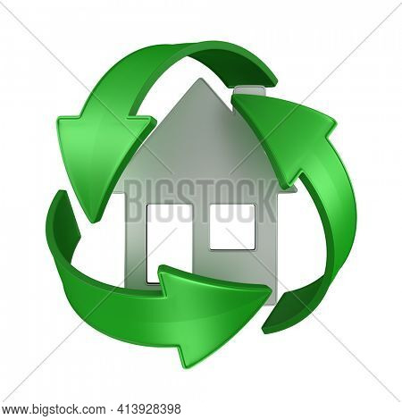sign recycled and house on white background. Isolated 3D illustration