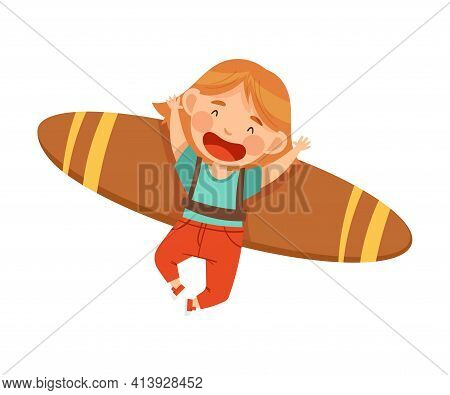 Playful Redhead Girl With Improvised Fake Wings Flying And Playing Vector Illustration
