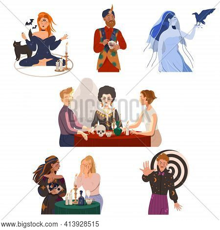 Man And Woman Fortune Teller, Psychic And Hypnotist Predicting Future And Performing Occult Ritual V