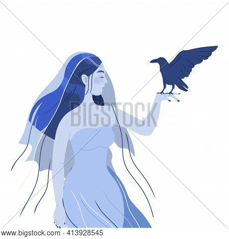 Female In Veil With Raven As Psychic Performing Occult Ritual Summoning Spirit Vector Illustration