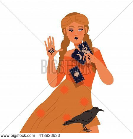 Woman As Fortune Teller Or Psychic Holding Tarot Cards Predicting Future Or Performing Occult Ritual