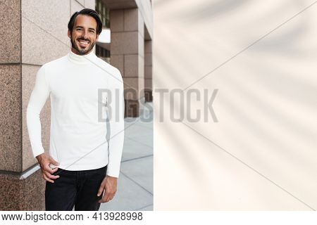 Minimal turtleneck style  men's apparel collection promotional ad