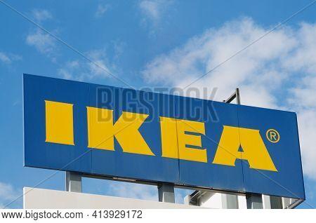 Grancia, Switzerland - 18th March 2021 : Ikea (ingvar Kamprad Elmtaryd Agunnaryd) Sign Hanging On Th