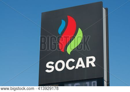 Camorino, Ticino, Switzerland - 20th March 2021 : Gas Station Sign Of Socar (state Oil Company Of Az