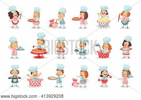 Little Boy Ans Girl Characters In Chef Uniform Baking Pastry And Kneading Dough Vector Illustration