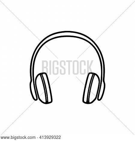 Headphones Vector Icon Background. Web Design Icon. Headphones Icon Minimalist Design. Headphones Fo