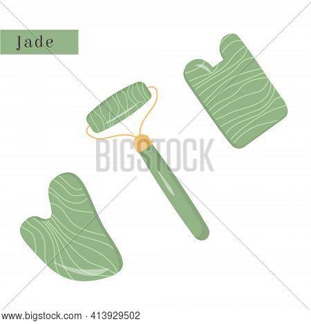 Set Of Gua Sha And Green Natural Jade Roller. Scraping Massage Tool. Natural Green Stone Scraper. Na
