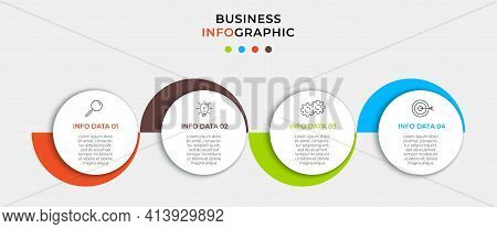 Business Infographic Design Template Vector With Icons And 4 Options Or Steps