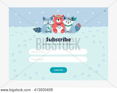 Email Subscription Design With Cute Tribal Animals. Online Newsletter Template With Subscribing Butt