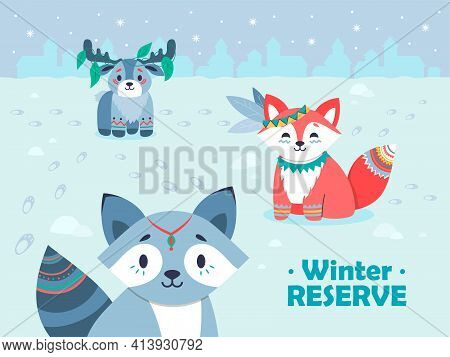 Winter Snowy Background Design With Cute Tribal Animals. Smiling Forest Characters Sitting On Snow.