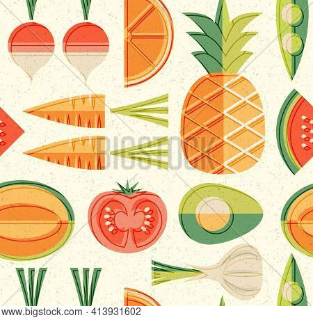 Seamless Mid Century Pattern Of Fruits And Vegetables. For Backgrounds, Print Design, Home Decor. He