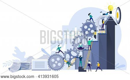 Businessman Team  And Lady  Running To Target With Powered Cog Flat Design Creativity  Modern Design