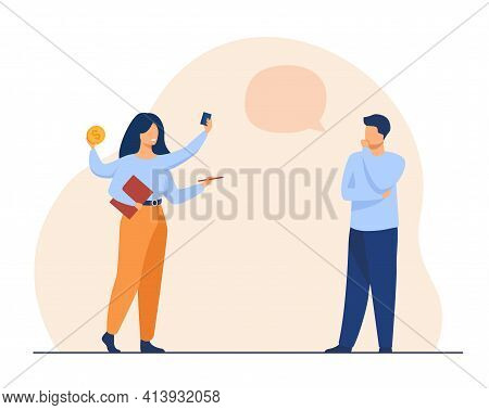 Thoughtful Man Talking With Multitasking Woman. Work, Coin, Hand Flat Vector Illustration. Time Mana
