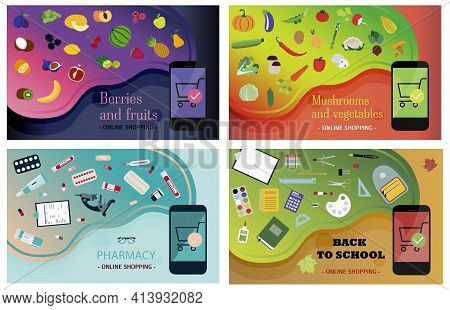Set Of Smartphone Screens With Ordering Vegetables, Fruits, Pharmacy And Office Supplies. Illustrati