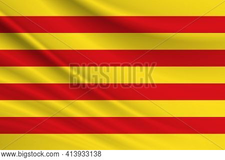 Flag Of Catalonia. Fabric Texture Of The Flag Of Catalonia.