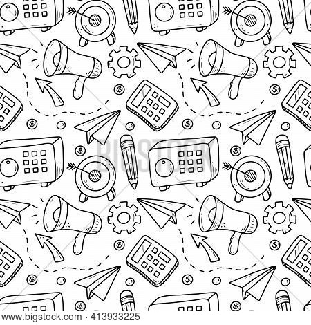 Hand Drawn Seamless Pattern Of Business And Finance Elements, Money, Calculator, Coin. Doodle Sketch