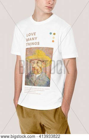 Man in white t-shirt with Van Gogh print teen's apparel shoot