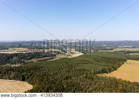 View Of The Fields And Mountains Of Saxon Switzerland. Germany