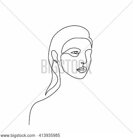 Continuous Line Abstract Face. Contemporary Minimalist Female Portrait. Hand Drawn Line Art Of Woman