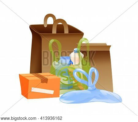 Composition Of Delivery Bags And Packages. Vector
