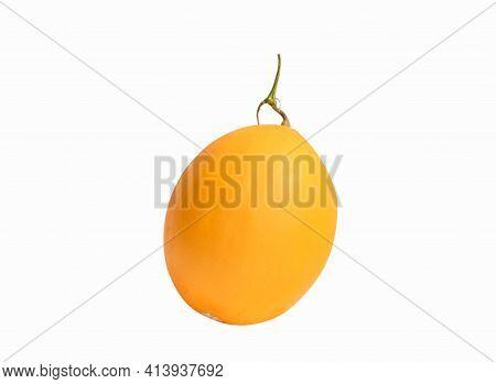 Yellow Cantaloupe Melon Isolated On White Background.