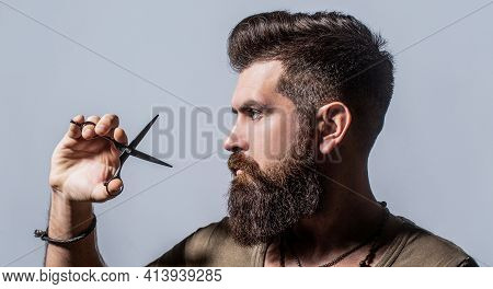 Mans Haircut In Barber Shop. Barber Scissors, Barber Shop. Barber Scissors. Vintage Barbershop, Shav