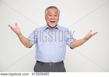 Portrait Of Excited Screaming Senior Asian Man Isolated Over White Background, Wow And Surprised Con