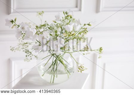 Bouquet Of Gentle Bells In Vase. Morning Light In The Room. Soft Home Decor, Glass Vase With White F