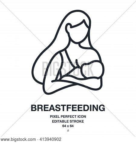 Breastfeeding Editable Stroke Outline Icon Isolated On White Background Vector Illustration. Pixel P
