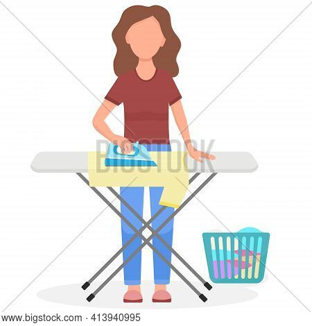 The Girl Ironing Clothes. The Woman Is Engaged In Household Chores. The Maid Tidies Up The Clothes.