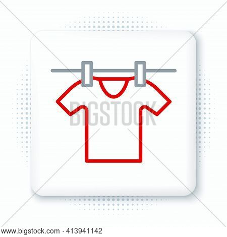 Line Drying Clothes Icon Isolated On White Background. Clean Shirt. Wash Clothes On A Rope With Clot