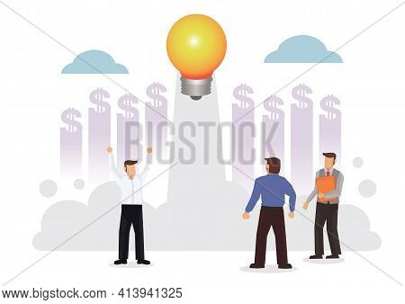 Light Bulb Launching To Space On White Background Surrounded By Businessmen. Project Start Up And Su