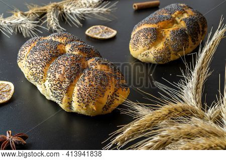 Rye Bread Isolated. Bakery With Crusty Loaves And Crumbs. Fresh Loaf Of Rustic Traditional Bread Wit
