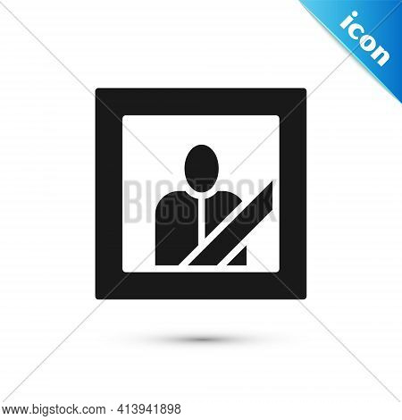 Grey Mourning Photo Frame With Black Ribbon Icon Isolated On White Background. Funeral Ceremony And