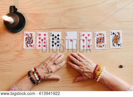 Guessing Cards Reading, Grandma Magic, Fortune Telling, Women Hands, Destiny Prediction