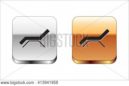 Black Sunbed Icon Isolated On White Background. Sun Lounger. Silver-gold Square Button. Vector