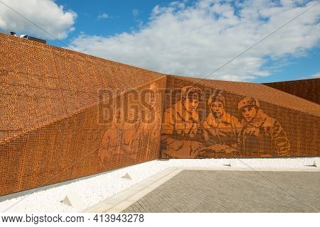 Rzhev, Tver Oblast, Russia - August 20, 2020: Surnames And Portraits Of The Fallen Heroes. Rzhev Mem