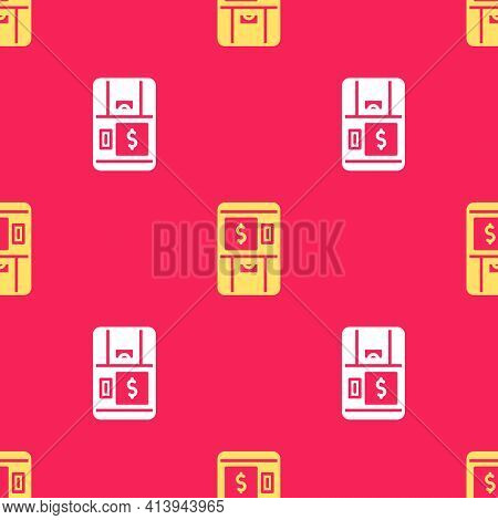Yellow Atm - Automated Teller Machine And Money Icon Isolated Seamless Pattern On Red Background. Ve