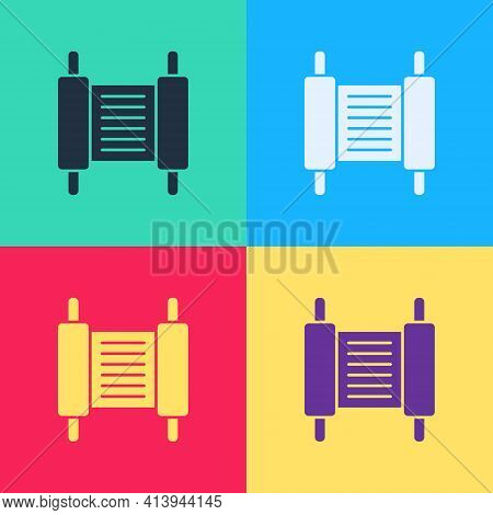 Pop Art Torah Scroll Icon Isolated On Color Background. Jewish Torah In Expanded Form. Star Of David