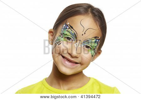 Young Girl With Face Painting Butterfly
