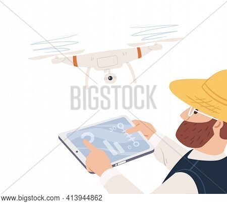 Modern Farmer Using Drone For Agriculture. Smart Farm Concept. Man Analyzing, Inspecting And Control