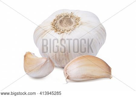 Isolated Garlic. Fresh Peeled Garlic Cloves, Bulb With Garlic Slices Isolated On White Background. C